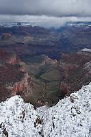 Snow covered rim of Crand Canyon, Arizona, USA