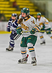 14 February 2015: University of Vermont Catamount Defender Amanda Drobot, a Freshman from Churchville, PA, in first period action against the University of New Hampshire Wildcats at Gutterson Fieldhouse in Burlington, Vermont. The Lady Catamounts rallied from a 3-1 deficit to earn a 3-3 tie in the final home game of their NCAA Hockey East season. Mandatory Credit: Ed Wolfstein Photo *** RAW (NEF) Image File Available ***