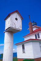 A birdhouse on the grounds of the Raspberry Island Lighthouse on Raspberry Island in the Apostle Islands National Lakeshore.