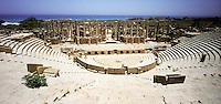 Libia, Leptis Magnia,  Il teatro antico terminato sotto l'impero di Tiberio (14-37 d.c.).Considerato il più bel sito romano del Mediterraneo..Libya, Leptis Magna.Considered the best Roman site in the Mediterranean