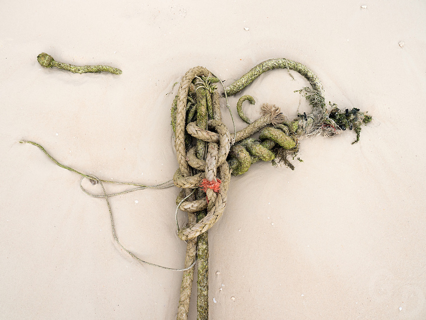 Anchor and Rope on sand, Phuket Thailand