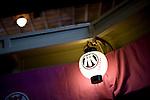 Photo shows a lantern hanging inside Korakukan theater, Japan's oldest extant wooden playhouse in Kosaka, Akita Prefecture Japan on 19 Dec. 2012. Photographer: Robert Gilhooly