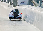8 January 2016: Elisabeth Vathje, competing for Canada, crosses the finish line on her first run of the BMW IBSF World Cup Skeleton race at the Olympic Sports Track in Lake Placid, New York, USA. Mandatory Credit: Ed Wolfstein Photo *** RAW (NEF) Image File Available ***