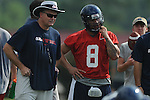 Quaterback Jeremiah Masoli (8) with head coach Houston Nutt as the University of Mississippi began football practice on Sunday, August 8, 2010.