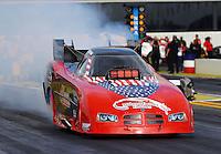 Feb 7, 2014; Pomona, CA, USA; NHRA funny car driver Gary Densham during qualifying for the Winternationals at Auto Club Raceway at Pomona. Mandatory Credit: Mark J. Rebilas-