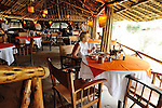 Cozy and nicely appointed dining tent at Southern Cross safari tent camp in Tsavo  East National Park, Kenya