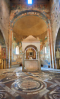 Apse and Lombard inlaid marble floor of the Lombard masters Cosmatesque association in the Romanesque interior of the 8th century Romanesque Basilica church of St Peters, Tuscania, Lazio, Italy