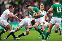 Max Deegan of Ireland U20 takes on the England U20 defence. World Rugby U20 Championship Final between England U20 and Ireland U20 on June 25, 2016 at the AJ Bell Stadium in Manchester, England. Photo by: Patrick Khachfe / Onside Images