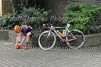 Glyndwr Griffiths of the 73Degrees Cycling club gets prepared for the race during the Abergavenny Festival of Cycling &quot;Grand Prix of Wales&quot; race on Sunday 17th 2016<br /> <br /> <br /> Jeff Thomas Photography -  www.jaypics.photoshelter.com - <br /> e-mail swansea1001@hotmail.co.uk -<br /> Mob: 07837 386244 -