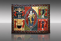 12th century Romanesque painted altar front from Saint Quirc de Durro, Val de Boi, Alta Ribagorca, Spain, showing The Madonna and Child and scenes depicting the martyrdom of saints.  National Art Museum of Catalonia, Barcelona 1919-23. Ref: MNAC 15809.