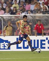 Monarcas Morelia forward Rafael Marquez (7) at midfield. Monarcas Morelia defeated the New England Revolution, 2-1, in the SuperLiga 2010 Final at Gillette Stadium on September 1, 2010.