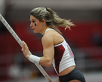 NWA Democrat-Gazette/ANDY SHUPE<br /> Arkansas sophomore Victoria Weeks competes in the pole vault Saturday, Feb. 11, 2017, during the Tyson Invitational in the Randal Tyson Track Center in Fayetteville. Visit nwadg.com/photos to see more photographs from the meet.