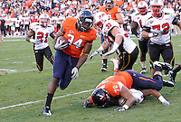 Nov 13, 2010; Charlottesville, VA, USA;  Virginia Cavaliers fullback Terence Fells-Danzer (34) runs the ball in for a touchdown during the 1st half of the game against the Maryland Terrapins at Scott Stadium.  Mandatory Credit: Andrew Shurtleff-