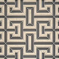Theseus, a handmade mosaic shown in honed Warm Grey glass, honed Bianco Antico and honed Palomar. Designed by Sara Baldwin Designs for New Ravenna.<br />