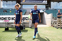 Cary, North Carolina  - Sunday May 21, 2017: Lynn Williams and Jaelene Hinkle prior to a regular season National Women's Soccer League (NWSL) match between the North Carolina Courage and the Chicago Red Stars at Sahlen's Stadium at WakeMed Soccer Park. Chicago won the game 3-1.