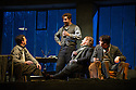 London, UK. 27.10.2014. Jonathan Miller's production, for English National Opera, of LA BOHEME, by Giacomo Puccini, opens at the London Coliseum. Rising star soprano, Angel Blue, makes her role debut as Mimi. Picture shows: George von Bergen (Marcello), George Humphreys (Schaunard), Barnaby Rea (Colline), David Butt Philip (Rodolfo). Photograph © Jane Hobson.