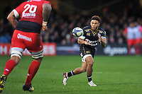 Kyle Eastmond of Bath Rugby receives the ball. European Rugby Champions Cup match, between Bath Rugby and RC Toulon on January 23, 2016 at the Recreation Ground in Bath, England. Photo by: Patrick Khachfe / Onside Images