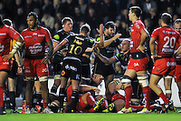 Bath Rugby players celebrate a put-in at the scrum. European Rugby Champions Cup match, between RC Toulon and Bath Rugby on January 10, 2016 at the Stade Mayol in Toulon, France. Photo by: Patrick Khachfe / Onside Images