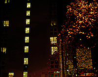 Looking into a block of flats from the street in London...