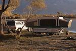 Campers at Diaz Lake County Park, Lone Pine, California