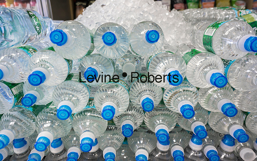 A display of bottled water is seen in a grocery in New York on Monday, April 18, 2016. (© Richard B. Levine)