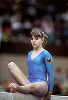Stefanie Tautz of West Germany performs on balance beam at 1985 World Championships in women's artistic gymnastics at Montreal, Canada in mid-November, 1985.  Photo by Tom Theobald.
