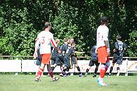 VOETBAL: SINT NICOLAASGA: Sportpark v.v. Renado, 27-05-2012, Nacompetitie Zondag 3e/4e klasse, Renado 1 - SC Stiens 1, Eindstand 2-2, SC Stiens komt op 0-1 voorsprong, Mike Procee (#2 SC Stiens), Rudy Mensink (#9 SC Stiens), Harrie Dijkstra (#5 SC Stiens), Harmen Visser (#14 SC Stiens), Benno Faber (#15 SC Stiens), ©foto Martin de Jong