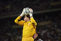 Hungary's Peter Gulacsi (1) captures the ball against a goal attempt  against Italy during the FIFA Under 20 World Cup Quarter-final match at the Mubarak Stadium  in Suez, Egypt, on October 09, 2009. Hungary won 2-3 in overtime.
