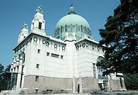 Otto Wagner: Church AM Steinhof, Vienna, 1904-07.  Southern 3/4 elevation.