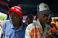 Petionville, Haiti, April 18, 2010.Local 'Taptap' transport is slow and uncomfortable but all that most Haitians can afford.