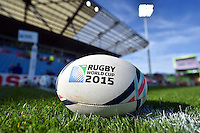 A general view of a Rugby World Cup branded ball on the pitch. Rugby World Cup Pool C match between Tonga and Namibia on September 29, 2015 at Sandy Park in Exeter, England. Photo by: Patrick Khachfe / Onside Images