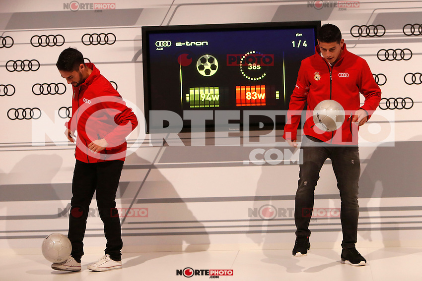Isco and James participates and receives new Audi during the presentation of Real Madrid's new cars made by Audi in Madrid. December 01, 2014. (ALTERPHOTOS/Caro Marin) /Nortephoto
