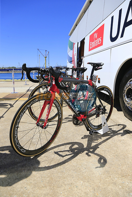 UAE Emirates team Colnago C60s lined up outside the team bus at Arbatax before the start of Stage 3 of the 100th edition of the Giro d'Italia 2017, running 148km from Tortoli to Cagliari, Sardinia, Italy. 7th May 2017.<br /> Picture: Eoin Clarke | Cyclefile<br /> <br /> <br /> All photos usage must carry mandatory copyright credit (&copy; Cyclefile | Eoin Clarke)