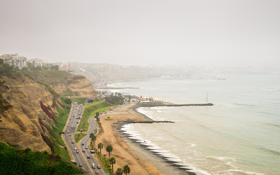 "View of the Avenue ""Circuito de Playas"" from the Larcomar Shopping Center in Lima, Peru."