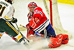 21 February 2009: University of Massachusetts Lowell River Hawks' goaltender Carter Hutton, a Junior from Thunder Bay, Ontario, in action against the University of Vermont Catamounts at Gutterson Fieldhouse in Burlington, Vermont. The River Hawks shut out the Catamounts 1-0. Mandatory Photo Credit: Ed Wolfstein Photo