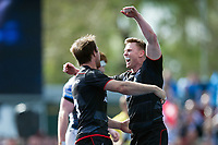 Chris Ashton of Saracens celebrates a try from team-mate Marcelo Bosch. European Rugby Champions Cup Quarter Final, between Saracens and Glasgow Warriors on April 2, 2017 at Allianz Park in London, England. Photo by: Patrick Khachfe / JMP