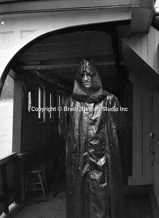 Niagara Falls New York:  Sarah Stewart wearing rain gear on the Maid of the Mist - 1914