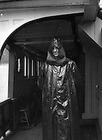 Niagara Falls New York:  Sarah Stewart wearing rain gear on the Maid of the Mist - 1914