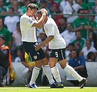 Brian Ching and Charlie Davies celebrate Davies' goal. USA Men's National Team loses to Mexico 2-1, August 12, 2009 at Estadio Azteca, Mexico City, Mexico. .   .