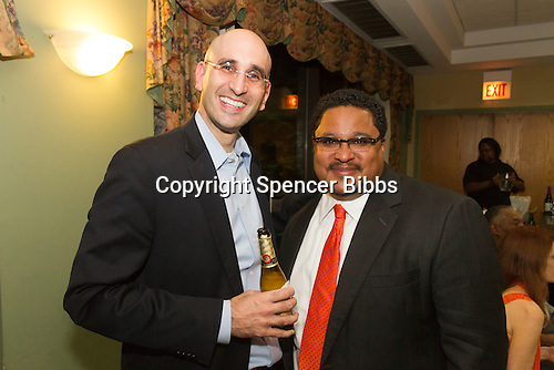 The Hyde Park Chamber of Commerce held its 96th Annual Anniversary Dinner Thursday evening at the LaQuinta Inn and Suites located at 4900 S. Lake Shore Drive.<br /> <br /> 7647 &ndash; Greg Guttman of MAC Properties and Jonathan Swain of Kimbark Liquors<br /> <br /> Please 'Like' &quot;Spencer Bibbs Photography&quot; on Facebook.<br /> <br /> All rights to this photo are owned by Spencer Bibbs of Spencer Bibbs Photography and may only be used in any way shape or form, whole or in part with written permission by the owner of the photo, Spencer Bibbs.<br /> <br /> For all of your photography needs, please contact Spencer Bibbs at 773-895-4744. I can also be reached in the following ways:<br /> <br /> Website &ndash; www.spbdigitalconcepts.photoshelter.com<br /> <br /> Text - Text &ldquo;Spencer Bibbs&rdquo; to 72727<br /> <br /> Email &ndash; spencerbibbsphotography@yahoo.com