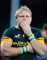 Adriaan Strauss of South Africa looks dejected after the match. Old Mutual Wealth Series International match between England and South Africa on November 12, 2016 at Twickenham Stadium in London, England. Photo by: Patrick Khachfe / Onside Images