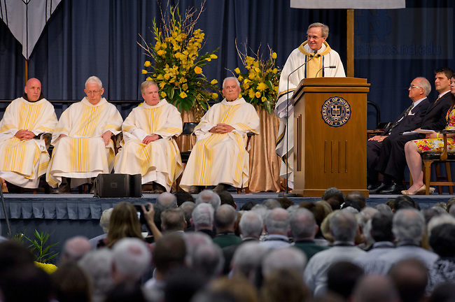 June 1, 2013; Notre Dame President Rev. John I. Jenkins, C.S.C. gives the homily at the 2013 Reunion Mass.<br /> <br /> Photo by Matt Cashore/University of Notre Dame