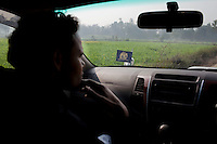 Minister of Legislative Assembly, Ritesh Pandey, 30, drives through rural dirt roads in Saharanpur Umran, Ambedkar Nagar, Uttar Pradesh, India, on 21st January, 2012. Returning 1.5 years ago after almost 10 years abroad, Pandey is contesting on behalf of the Bahujan Samaj Party (BSP), a party that is based on its appeal to Dalit (the lowest Hindu caste) voters. Party leader Mayawati, herself a Dalit, has recently been giving out more tickets to muslims and high caste candidates in an attempt to woo a larger spectrum of voters in Uttar Pradesh, a Bellwether state. Photo by Suzanne Lee for The National (online byline: Photo by Szu for The National)
