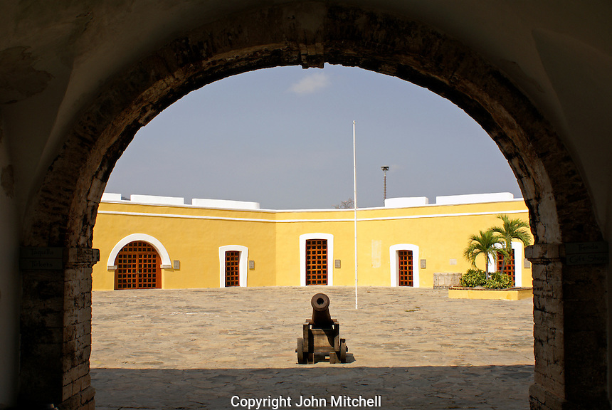Entrance and interior courtyard at Fuerte de San Diego, Acapulco, Mexico. This 18th-century Spanish fort was built to protect Acapulco from Dutch and English buccaneers.