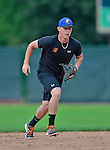 18 July 2013: Aberdeen Ironbirds infielder Jeff Kemp warms up prior to a game against the Vermont Lake Monsters at Centennial Field in Burlington, Vermont. The Lake Monsters rallied to defeat the Ironbirds 6-4 in NY Penn League action. Mandatory Credit: Ed Wolfstein Photo