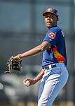 4 March 2016: Houston Astros pitcher David Paulino warms up prior to a Spring Training pre-season game against the St. Louis Cardinals at Osceola County Stadium in Kissimmee, Florida. The Astros defeated the Cardinals 6-3 in Grapefruit League play. Mandatory Credit: Ed Wolfstein Photo *** RAW (NEF) Image File Available ***