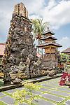 Ubud, Bali, Indonesia; inside the Balinese Hindu temple, Pura Taman Saraswati