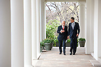 United States President Barack Obama and President Shimon Peres of Israel walk along the Colonnade of the White House, following their meeting, April 5, 2011..Mandatory Credit: Pete Souza - White House via CNP /MediaPunch