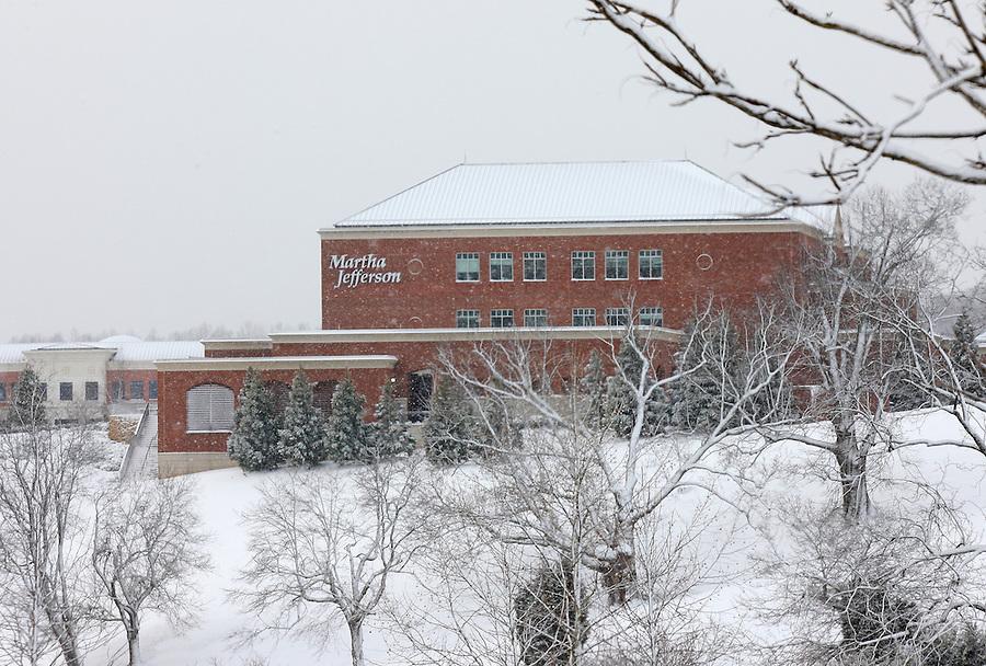 Snow covered martha jefferson  in Charlottesville, Va.