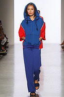 Model walks runway in an outfit by Emily Roe, for the 2017 Pratt fashion show on May 4, 2017 at Spring Studios in New York City.